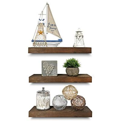 Rustic Farmhouse 3 Tier Floating Wood Shelf - Real Hardwood Floating Wall Shelves