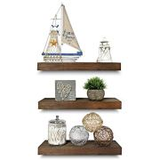 Rustic Farmhouse 3 Tier Floating Wood Shelf - Real Hardwood Floating Wall Shelves
