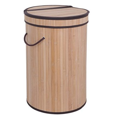 F2C Folding Easily Transport Rectangular Bamboo Laundry Hamper Basket Storage Basket with Lid Handles, Removable Liners Dirty Clothes Storage Laundry, Natural Bamboo Round