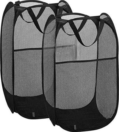 Simplized 2 Pack Popup Laundry Hamper, Foldable Pop-up Mesh Hamper Dirty Clothes Basket w Carry Handles (2)