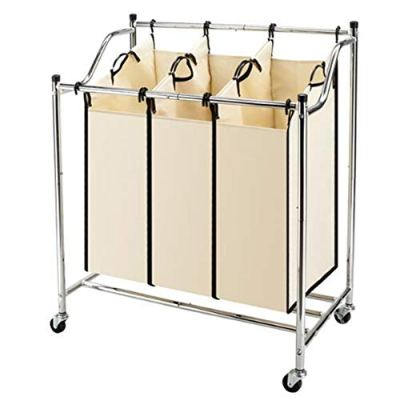 Whatyiu Laundry Sorter 3-Bag Heavy-Duty Rolling Divided Laundry Hamper Cart
