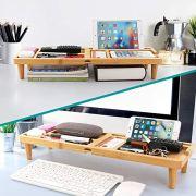 BambuMate Desk Storage Organizer Bamboo Desktop Shelf Display Rack