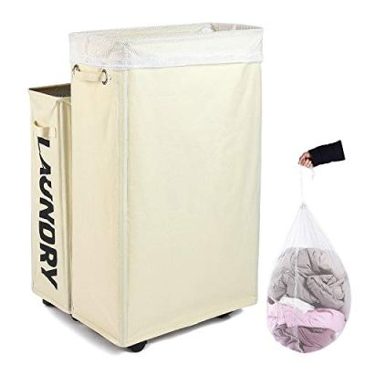 Caroeas Laundry Hamper, Rolling Laundry Basket Collapsible Tall Slim Laundry Hamper with Washable & Breathable Mesh Liner Waterproof & Dustproof Laundry Cart on Wheels (Beige)