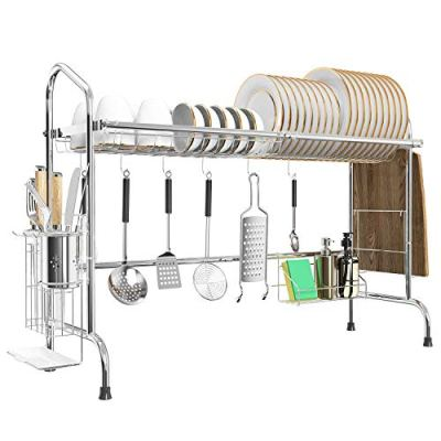 Over the Sink Dish Drying Rack, MNOPQ Premium 201 Stainless Steel Multifunctional Kitchen Dish Drying Drainer Rack Above Sink with Large Capacity, Non Slip