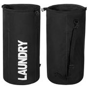 WOWLIVE Extra Large Foldable Laundry Hamper Durable Laundry Basket Collapsible Laundry Bag Backpack Dirty Clothes Hamper Standing Waterproof Hamper for Laundry (Black)
