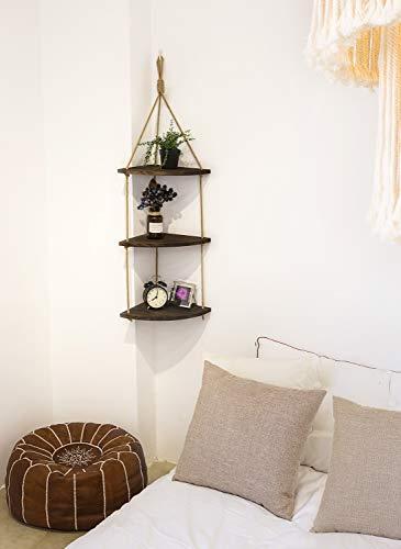 Mkono Hanging Corner Shelf 3 Tier Jute Rope Wood Wall Floating Shelves