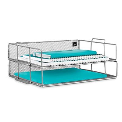 Mindspace 2 Tier Stackable Letter Tray  Paper Tray Desk Organizer