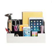 Desk Supplies Office Organizer Caddy (White, 13.4 x 5.1 x 7.1 inches)