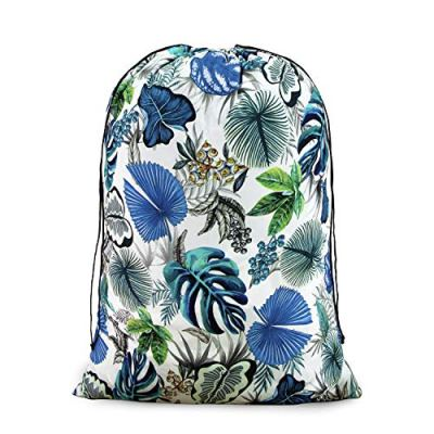 iLiveX Laundry Bag, Extra Large Travel Laundry Bags, Ripstop Dirty Clothes Organizer with Drawstring, Machine Washable, Great for Travel, Dorm, laundromat(Tropical)