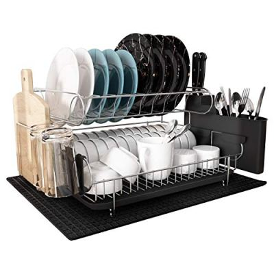 MAJALiS 304 Stainless Steel Large Capacity Dish Drying Rack, 2 Tier Dish Drying Rack with Dish Drainer for Kitchen Countertop, bonus Microfiber Mat and 4pcs Cleaning Cloths (Black(2 tiers))