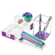Clear Acrylic Rainbow Desktop Supplies Office Stationery Set Tape Dispenser