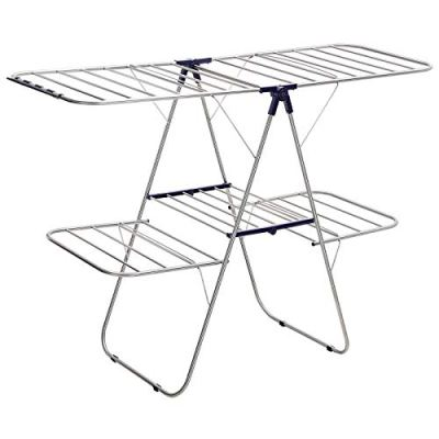 SONGMICS Foldable Clothes Drying Rack, 2-Level Stable Indoor Airer, Free-Standing Laundry Stand, with Height-Adjustable Wings, for Bed Linen, Clothing, Socks, Scarves, Blue ULLR53BU