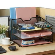 Reliatronic Mesh Desktop File Organizer with 3 Letter Trays and 1 Vertical Sections
