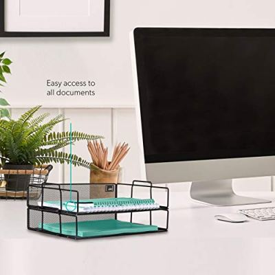 Mindspace 2 Tier Stackable Letter Tray Desk Organizer | Stackable Paper Tray