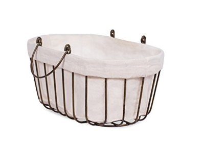 BIRDROCK HOME Mini Wire Basket with Liner - Oval - Modern Age