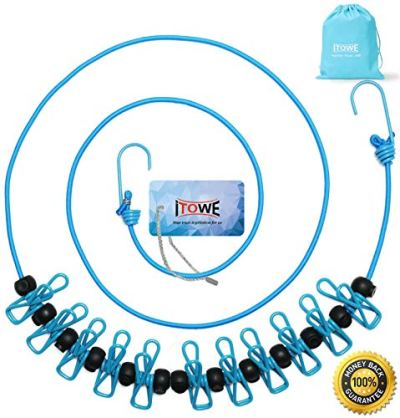 ITOWE Travel Elastic Clothesline Camping Clothes Lines Adjustable Clothes Rope with 12pcs Clothespins Portable Clothesline with Clips for Outdoor Wind-Proof Clothesline Indoor Clothes Lines Blue