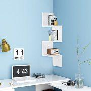 Yescom 3 Tiers Zig Zag Floating Wall Mount Corner Shelf Wooden Display Shelves