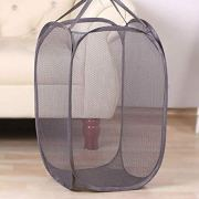 JEARLAKON Pop-Up Mesh Laundry Hamper Durable Handles, Collapsible for Storage and Easy to Open for The Kids Room, College Dorm or Travel (Gray)
