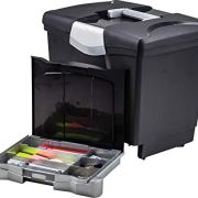 Storex Portable File Storage Box with Drawer Tray, Latch Lid, Letter Size