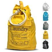 "Teeo Laundry Bag Backpack Large Spacious 25""X20"" Drawstring 100% Sturdy Cotton Canvas with Strap for College Students Dorm Room Clothes Hamper Storage Washer Organizer (Yellow)"