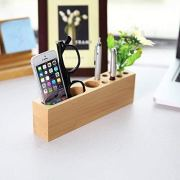 OHHOI Office Supplies Desktop Storage Box Stationery Solid Wood Pen Holders