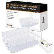 2 Tray Office Desk Organizer and Tape Dispenser-White Metal mesh