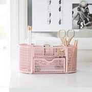 Pink Desk Organizer - Girlie Desk Accessories - Strong Metal Construction