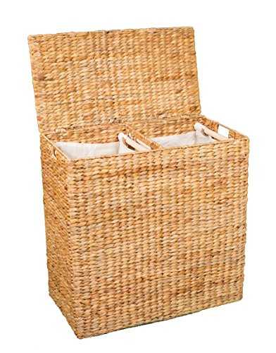 BIRDROCK HOME Water Hyacinth Laundry Hamper Divided Interior (Natural) - Eco Friendly - Made of Hand Woven Hyacinth Fibers - Includes Two Removable Cotton Liners Bag - Wicker Laundry Basket with Lid