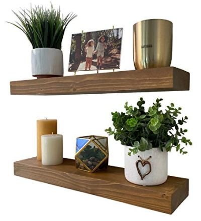 """Homeforia Rustic Wood Floating Shelves Wall Mounted - 2"""" Thick Wooden Shelf"""