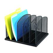 Safco Products Onyx Mesh 5 Sort Vertical Desktop Organizer , Black Powder Coat