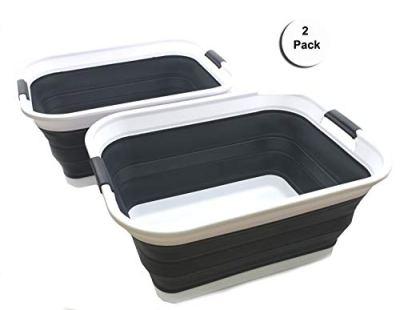 SAMMART Set of 2 Collapsible Plastic Laundry Basket - Foldable Pop Up Storage Container/Organizer - Portable Washing Tub - Space Saving Hamper/Basket (2 Rectangular - Strengthen, Black)