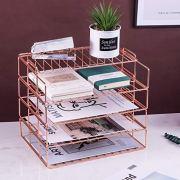 Hosaken Paper Tray, 4 Tier Stackable Letter Tray, Decorative Desk File Organizer