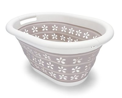 Camco White/Taupe Collapsible Utility/Laundry Basket - Perfect for Homes, Boats, and RVs - Easy Grip Carrying Handles - Foldable for Compact Storage,small - 51951