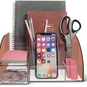 Rose Gold Desk Organizer Office, Acrylic, 9 Compartments, Office Supplies Desk