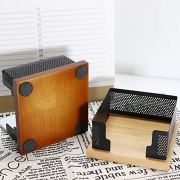 Buqoo Sticky Notes Holder with Mesh Steel and Wood Base Memo Dispenser
