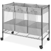 Whitmor Supreme 3 Bag Gunmetal Gray Laundry Organizer