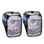 Smart Design Pop-Up Laundry Hamper w/Easy Carry Handles & Side Pocket