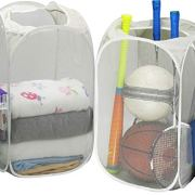 2 Pack - SimpleHouseware Mesh Pop-Up Laundry Hamper Basket