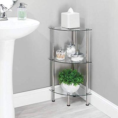 mDesign Bathroom Floor Storage Corner Tower, 3 Tier Open Glass Shelves