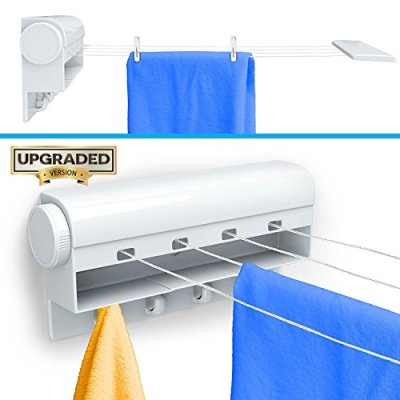 Gideon Retractable Tension Clothesline with 4 Built-in Hanging Hooks 10 Clothes Pins Creates 40 Feet of Drying Space