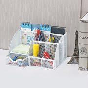Bonsaii Steel Mesh Desk Organizer, 6 Divided Compartments with 1 Slide Drawer