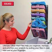 Ultimate Office Mesh Wall File Organizer, 8 Tier Vertical Mount Hanging File Sorter.