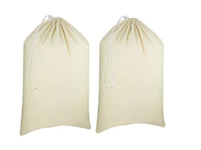 Urban Villa - 2 Pack Extra Large Canvas Heavy Duty Laundry Bags Natural Cotton -Multi Use- Size -28''x 36''
