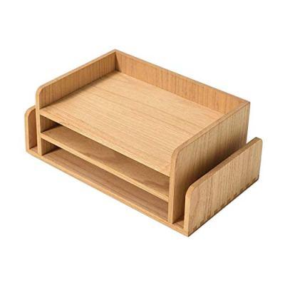 Wood 3-Tier Office Desktop Document Tray NA -Kirigen Mail Sorter Organizer Rack