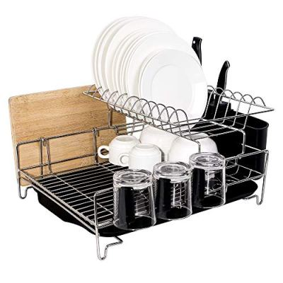 ADDMIRRE Sturdy 2 Tier Large Capacity Stainless Steel Dish Drying Rack, Multi Functional Holder
