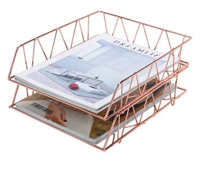 PAG Set of 2 Office Supplies Metal Stackable File Document Letter Tray Organizer