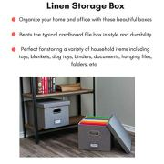 Internet's Best Collapsible File Storage Organizer with Lid - Decorative Linen Filing