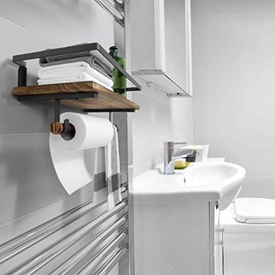 BAYKA Floating Shelf Wall Mounted, Rustic Wood Shelf for Bathroom Kitchen