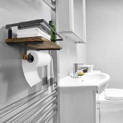 BAYKA Floating Shelf Wall Mounted, Rustic Wood Shelf for Bathroom Kitchen