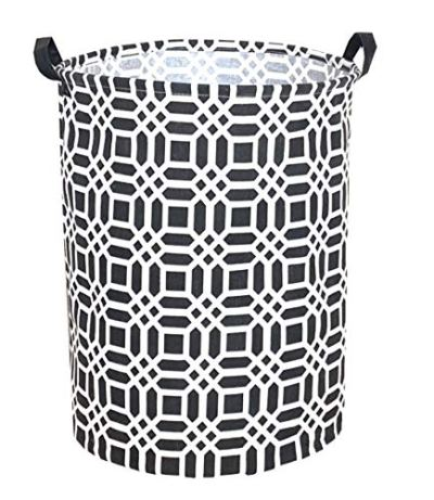 "Sanjiaofen 19.7"" Large Laundry Hamper Bucket Waterproof Coating Storage Bin Collapsible Washing Basket Home Nursery Toy Organizer,Canvas Storage Basket with Stylish Design(Black)"